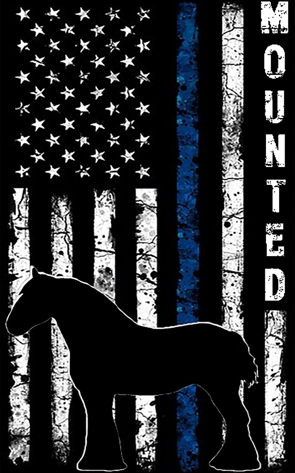 """Back of shirt showing vertical flag with blue stripe, the word """"Mounted"""" and the outline of a horse"""